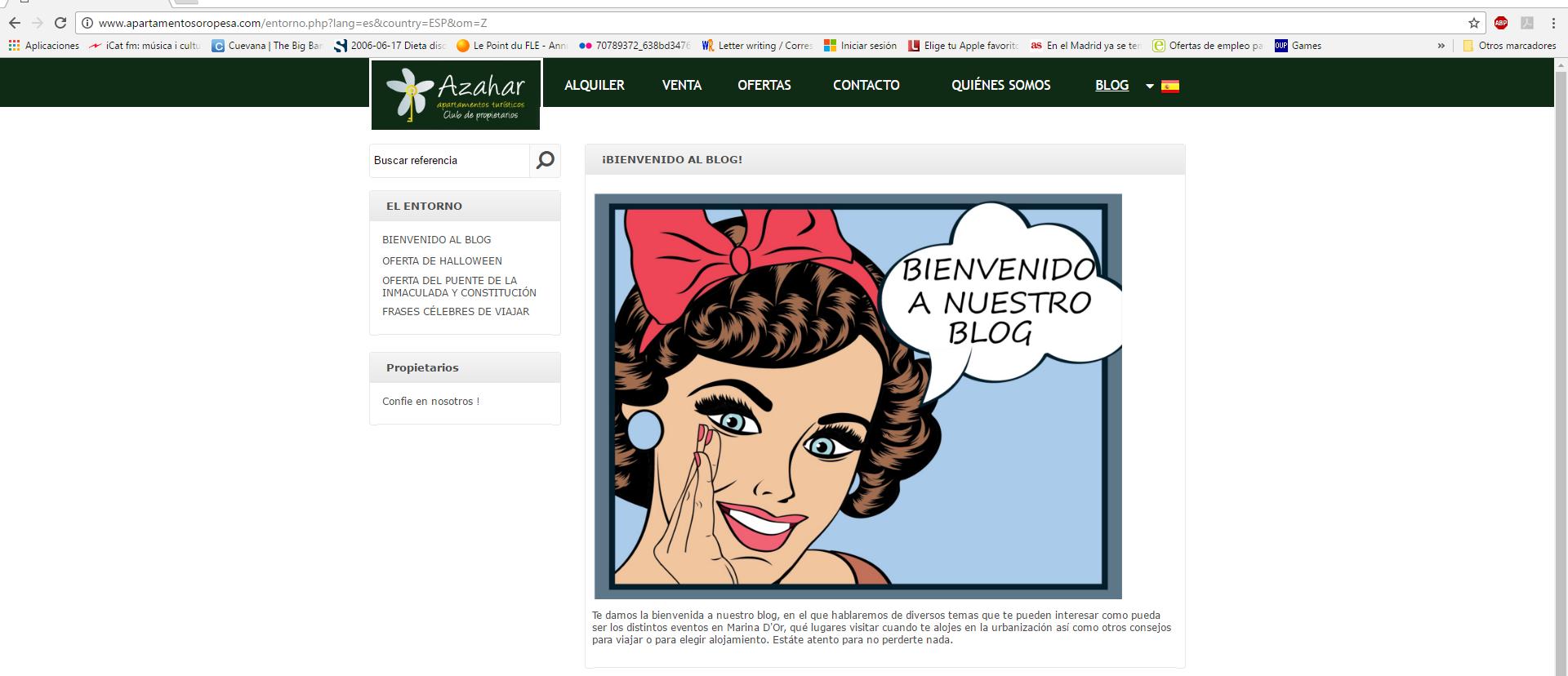 creacion de contenidos de blog azahar apartamentos turísticos