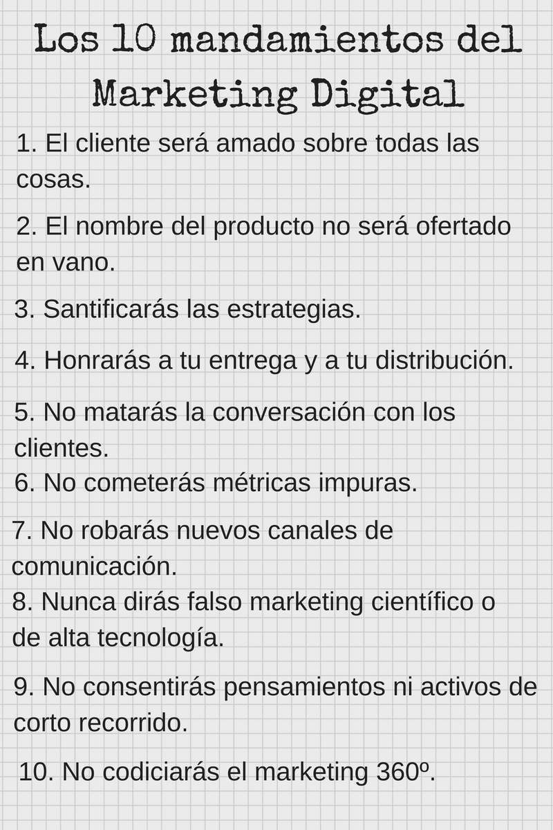 Los diez mandamientos del marketing digital.