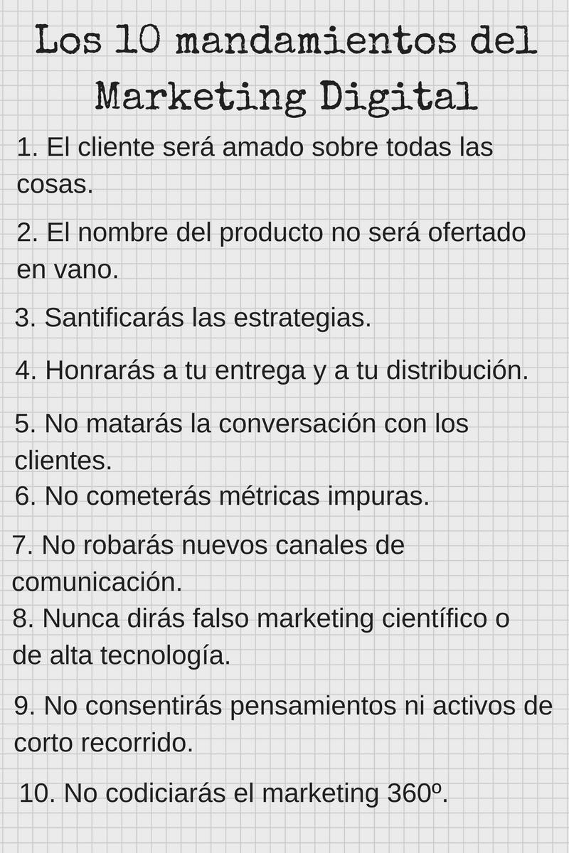 Los diez mandamientos del marketing digital.