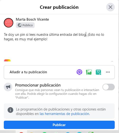 cómo no publicar en Facebook